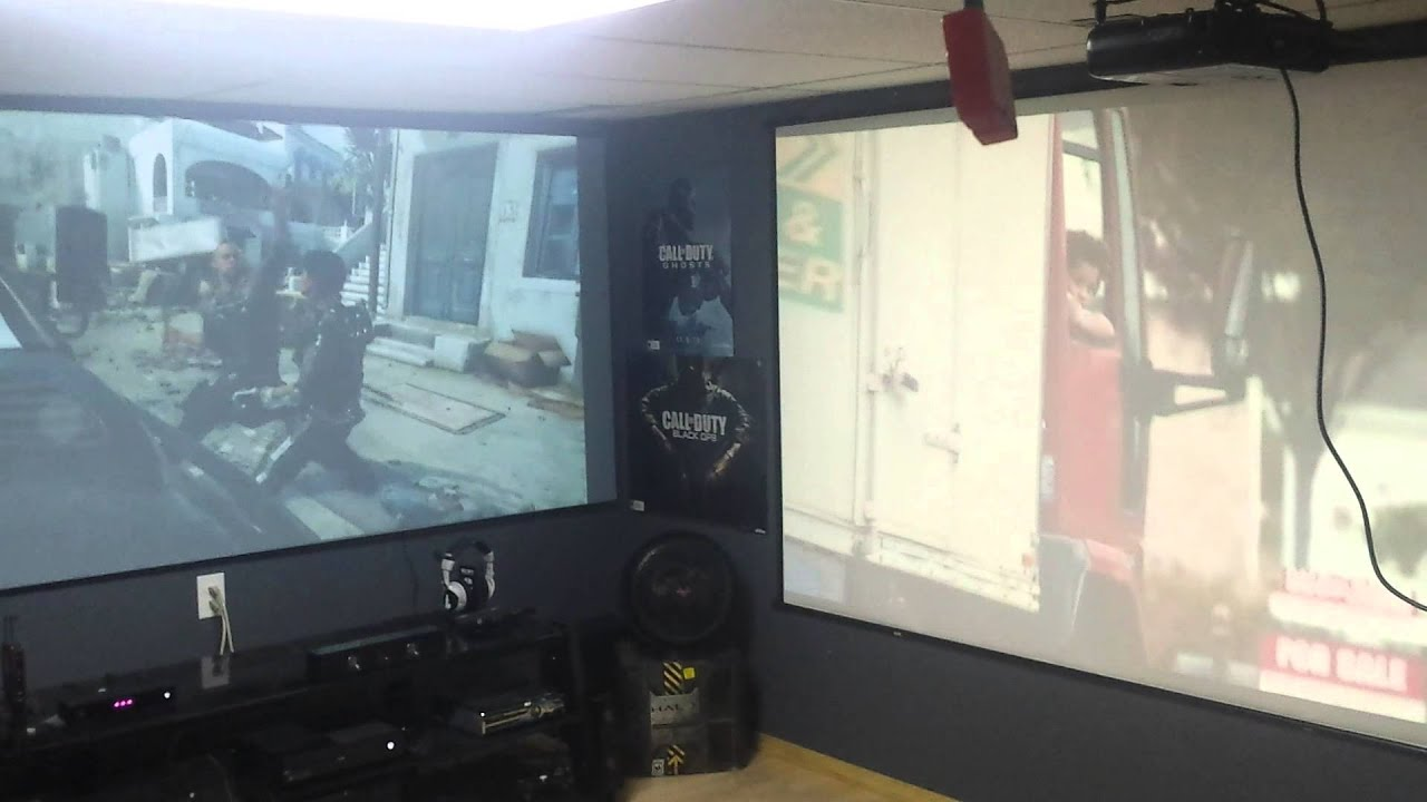 Garage Man Cave Projector : Awesome man cave projection screen setup youtube