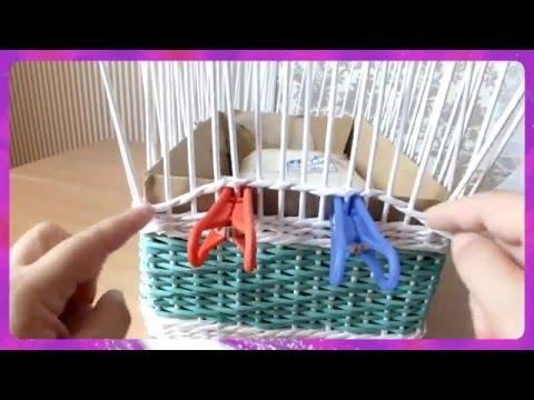 How to Make a Basket from  Newspaper   tutorial Návod na pletené  z papíru Cestería con periódicos