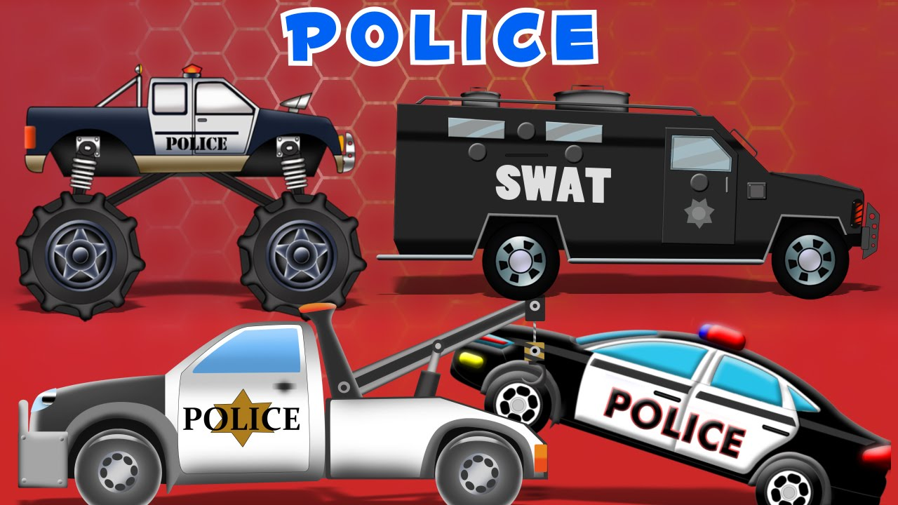police car compilation 60mins video for kids learn vehicles kids videos youtube