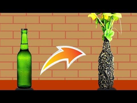 Diy Best Out Of Wast Glass Bottle Flower Vase Flower Pot