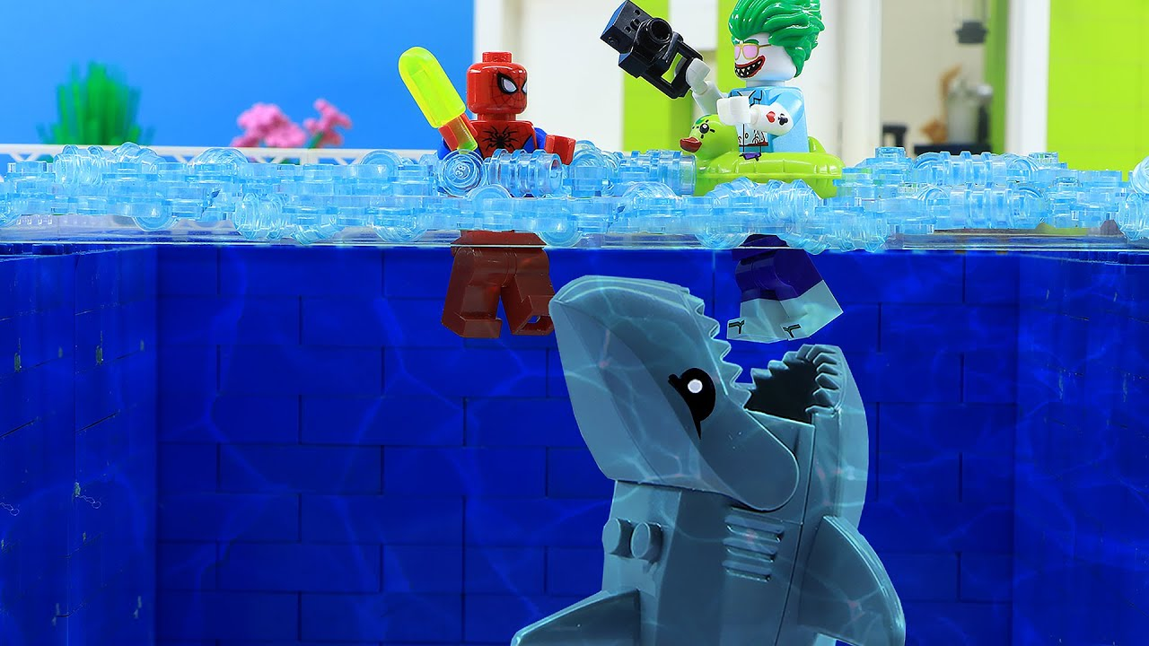 LEGO Land | Baby Shark Attack Lego Swimming Pool | Lego Stop Motion