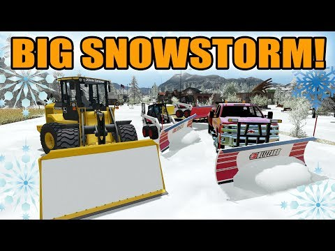 FARMING SIMULATOR 2017 | SNOWPLOWING AFTER BIG SNOWSTORM | BOBCAT + JOHN DEERE + CAN AM
