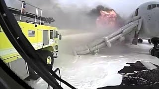Crash Truck Dash Cam #2: AA 383 Engine Fire at O'Hare