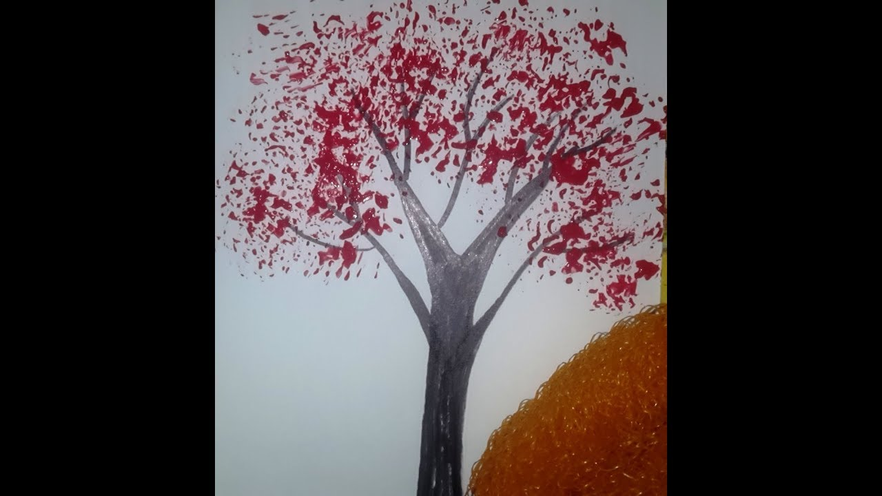 tree painting for kids paint tree with scrubber easy simple painting for children - Pictures To Paint For Children