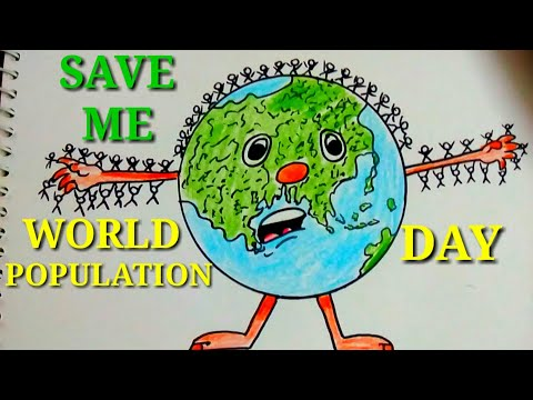 EASY AND CREATIVE DRAWING POSTER FOR WORLD POPULATION DAY || SAVE EARTH.