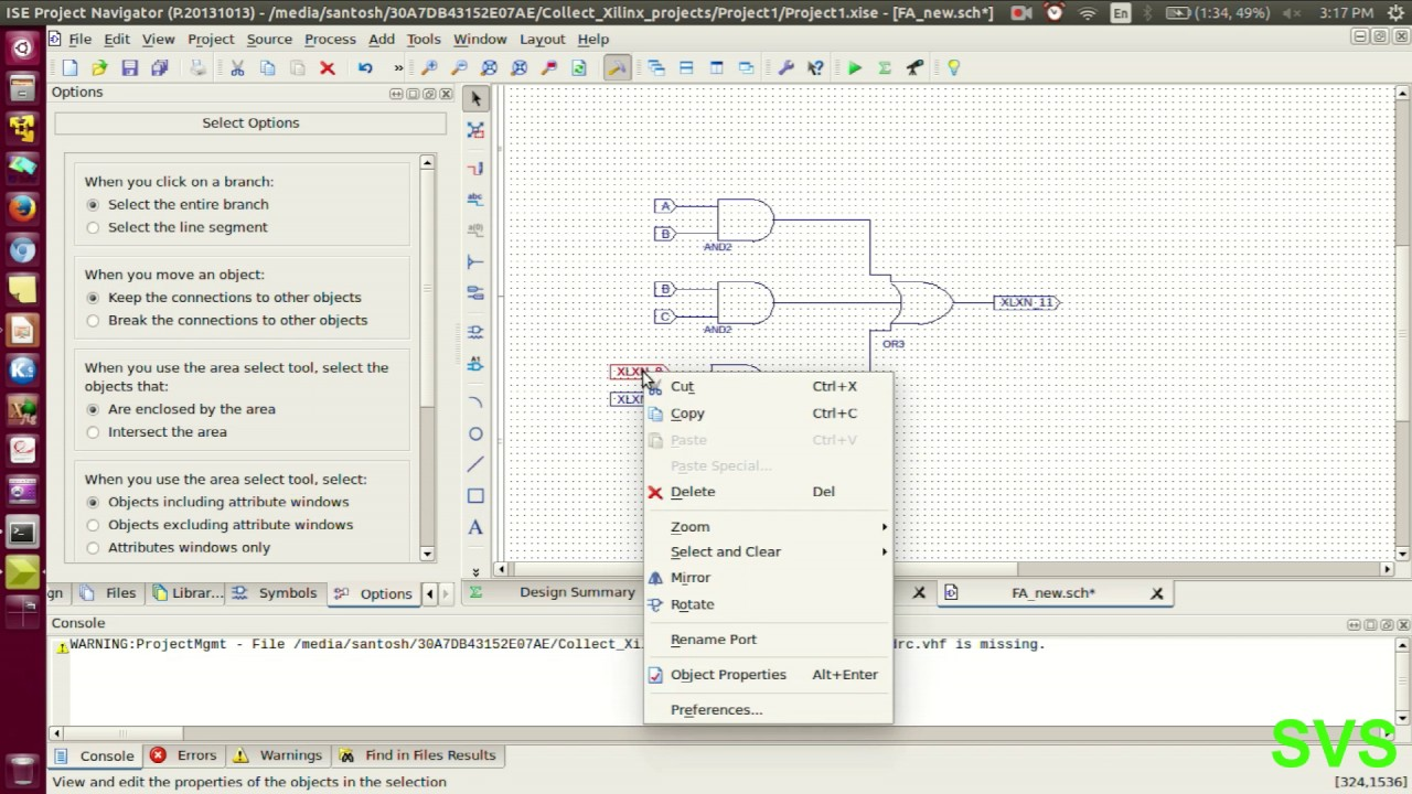 V03 Full Adder Verilog module as schematic entry with ports merging ...