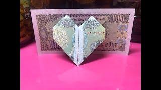 Cách gấp trái tim bằng tiền giấy đơn giản / Origami money heart easy