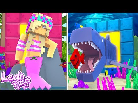Minecraft Little Leah Plays - PORTAL TO THE MERMAID LIFE VS PORTAL TO THE SHARK LIFE!!!