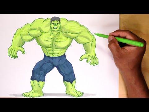 Cómo dibujar y pintar a Hulk de Avengers - How to draw Avengers Hulk