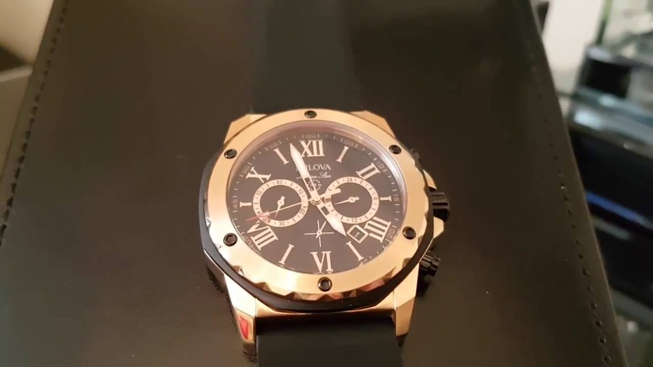 bulova marine star watch stunning in rose gold youtube. Black Bedroom Furniture Sets. Home Design Ideas