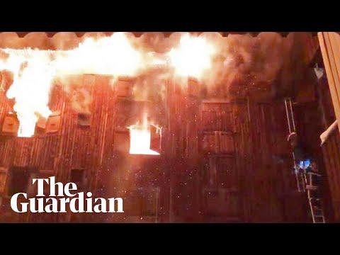 Amateur footage captures blaze at French ski resort