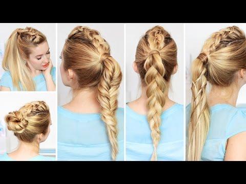Причёски с высоким хвостом на каждый день, быстро и легко, в школу, для средних/длинных волос