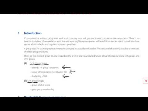 ACCA F6 Corporation Tax - Groups part 1