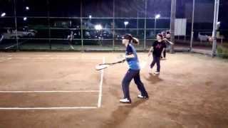 旭化成ソフトテニス部乱打風景⑤2014.08.18