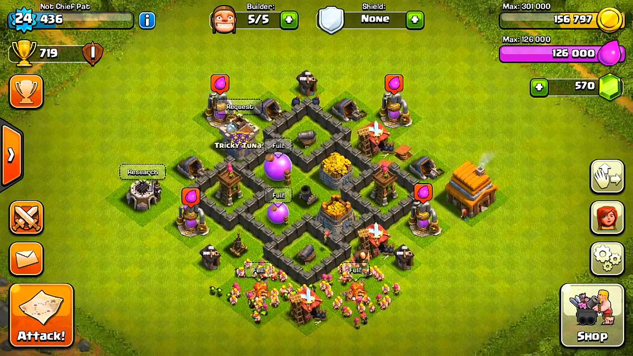 Clash of clans best town hall 4 defense base design youtube