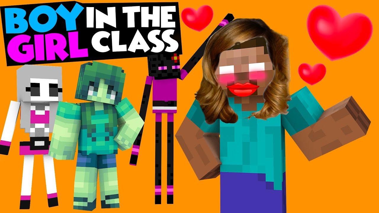 Monster School : BOY IN THE GIRL CLASS CHALLENGE - Minecraft Animation