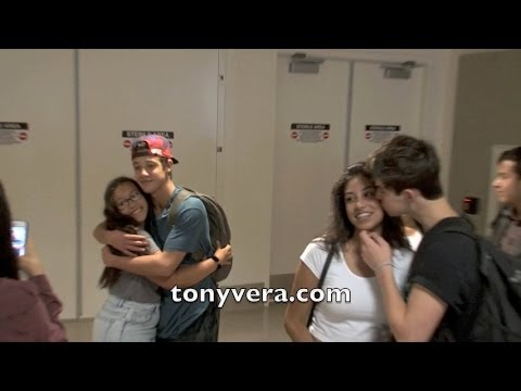 Nash Grier and Cameron Dallas show love to fans at LAX
