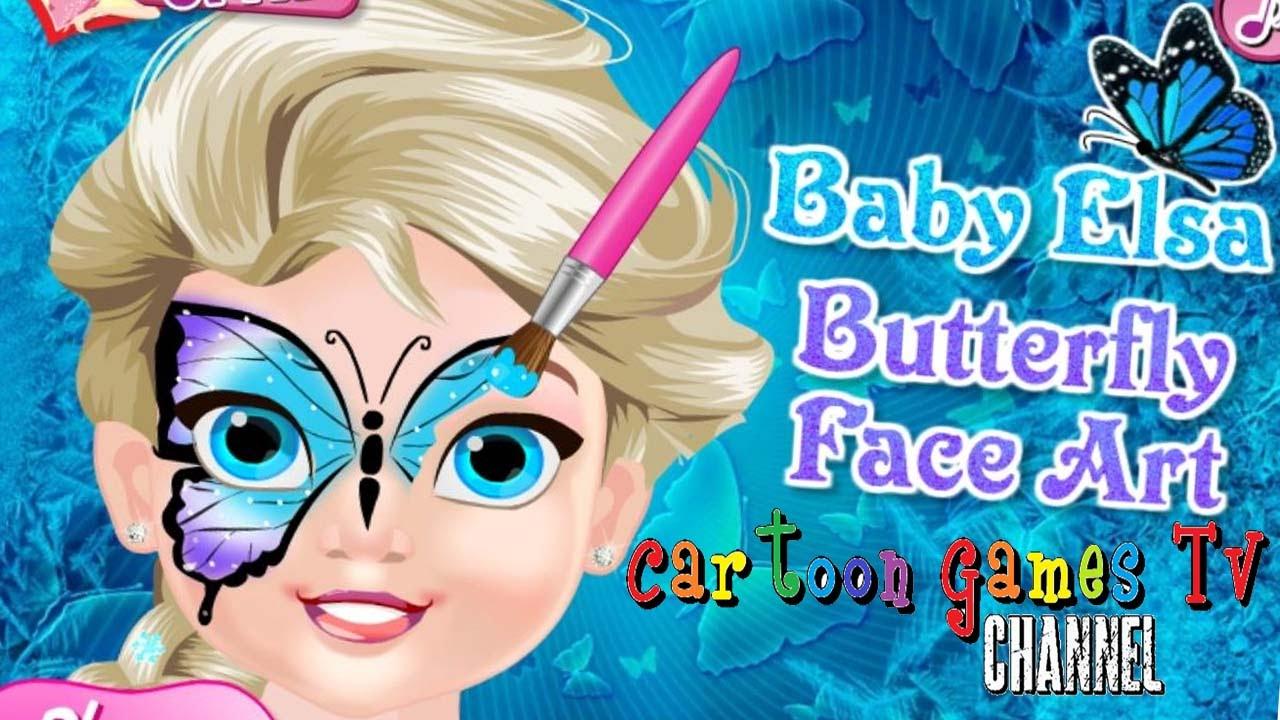 Beb princesa Elsa arte de la mariposa de la cara Beb princesa