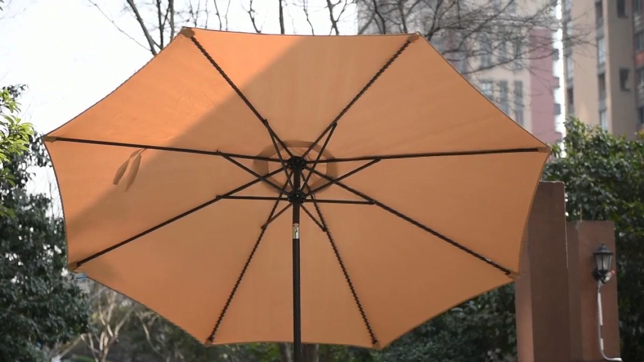 Sundale Outdoor 9 Feet Aluminum Patio Umbrella With Crank And Push Button  Tilt, 8 Steel Ribs PU001