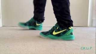 "Kobe 8 ""Green Camo"" on feet"
