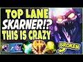 CONQUEROR SKARNER TOP LANE?! 😱 SOLO BARON AT 20MINS? THIS IS CRAZY 😱 TOP Skarner Season 9 Gameplay