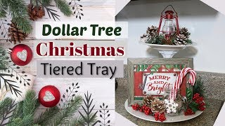 DIY Dollar Tree Christmas Tiered Tray | Dollar Tree Christmas DIY | Krafts by Katelyn