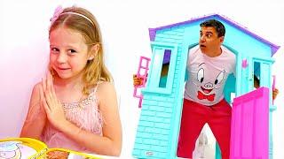 Nastya brinca com quebra-cabeças e tira sarro do papai