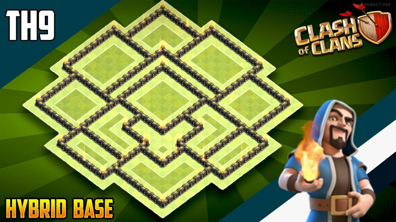 Best Th9 Hybrid Base 2019 Bes Coc Th 9 1