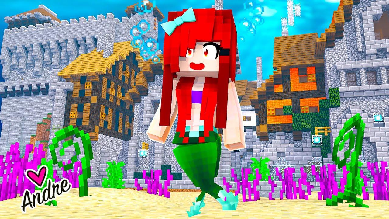 Minecraft | Me convierto en Sirenita Ariel y encuentro una ciudad bajo el agua | Andre se hace gamer