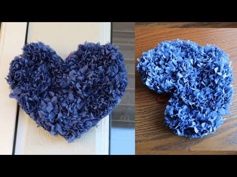 Tissue Paper Heart Wall Hanging - Easy Wall Decoration Ideas - Paper craft - DIY Wall Decor