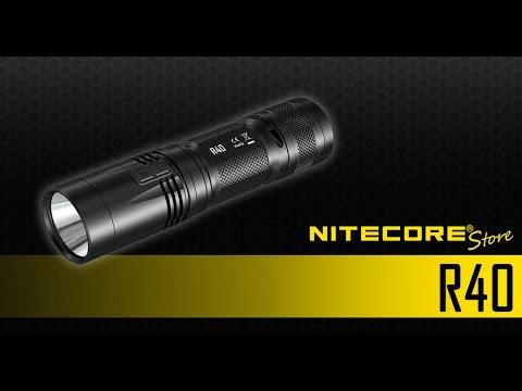 Nitecore R40 1000 Lumen Inductive Charging Flashlight w/ Desktop, Wall Mount Cradle
