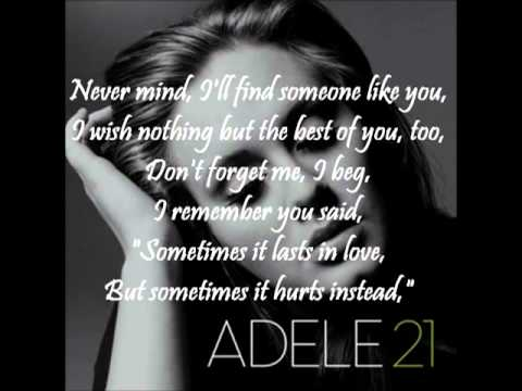 Adele - Someone like you (Lyrics on screen) and ringtone link