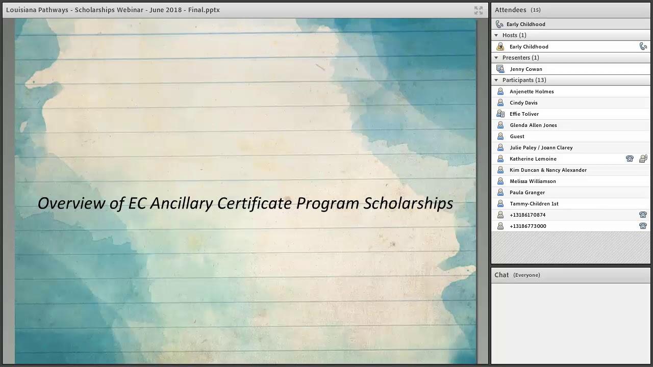 Ec Ancillary Certificate Programs Louisiana Pathways Scholarships