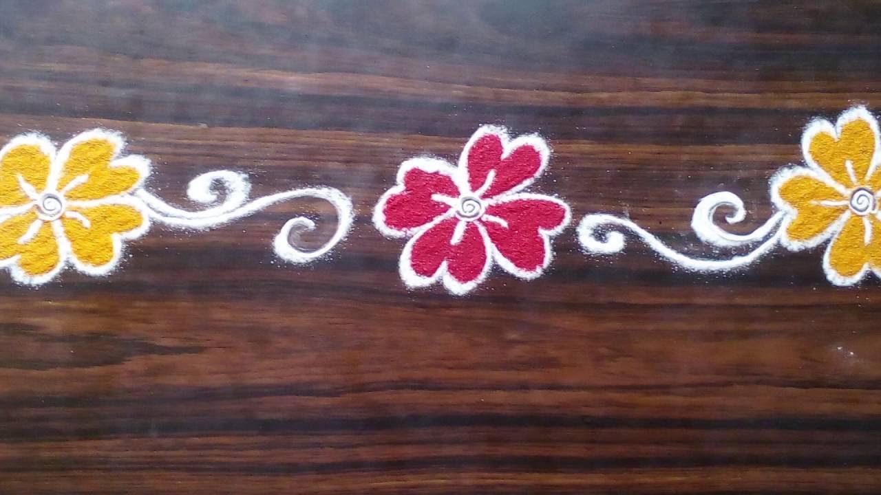 1 simple door rangoli for diwali unique rangoli designs for Door entrance rangoli designs