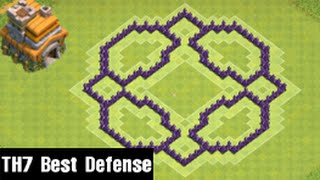 Clash of Clans - Town Hall 7 Defense (CoC TH7) BEST Trophy Base Layout Defense Strategy