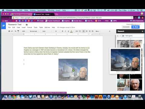 Using the Research Tool to find and cite images