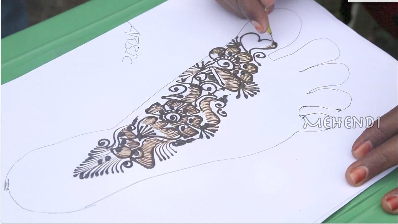 Mehndi Hand With Eye : Eye catching arabic mehndi design for right leg youtube