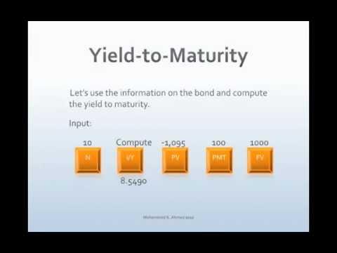 Financial calculator yield to maturity