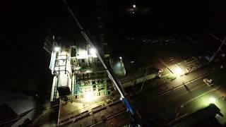 空撮:2018 福島県桑折町 東北中央道 桑折高架橋 夜間飛行撮影
