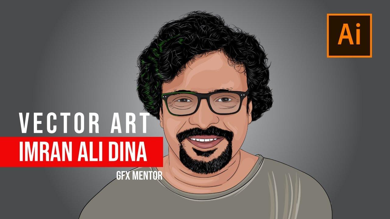 Download Imran Ali Dina ( GFX Mentor ) Art | Vector Portrait |  Speed Art | Adobe Illustrator CC