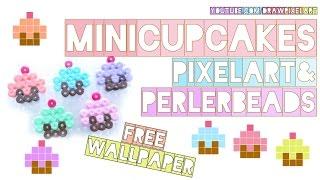 how to draw pixel mini-cupcakes + perler beads + FREE WALLPAPER   pastel muffins   drawpixelart