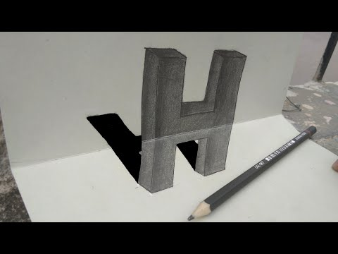 How to draw 3D letter H / very easy to draw 3d trick art on paper
