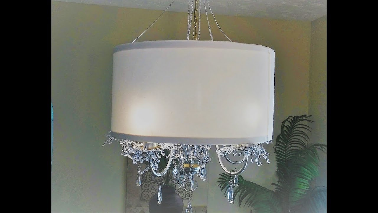 Diy drum lampshade and chandelier makeover youtube diy drum lampshade and chandelier makeover aloadofball