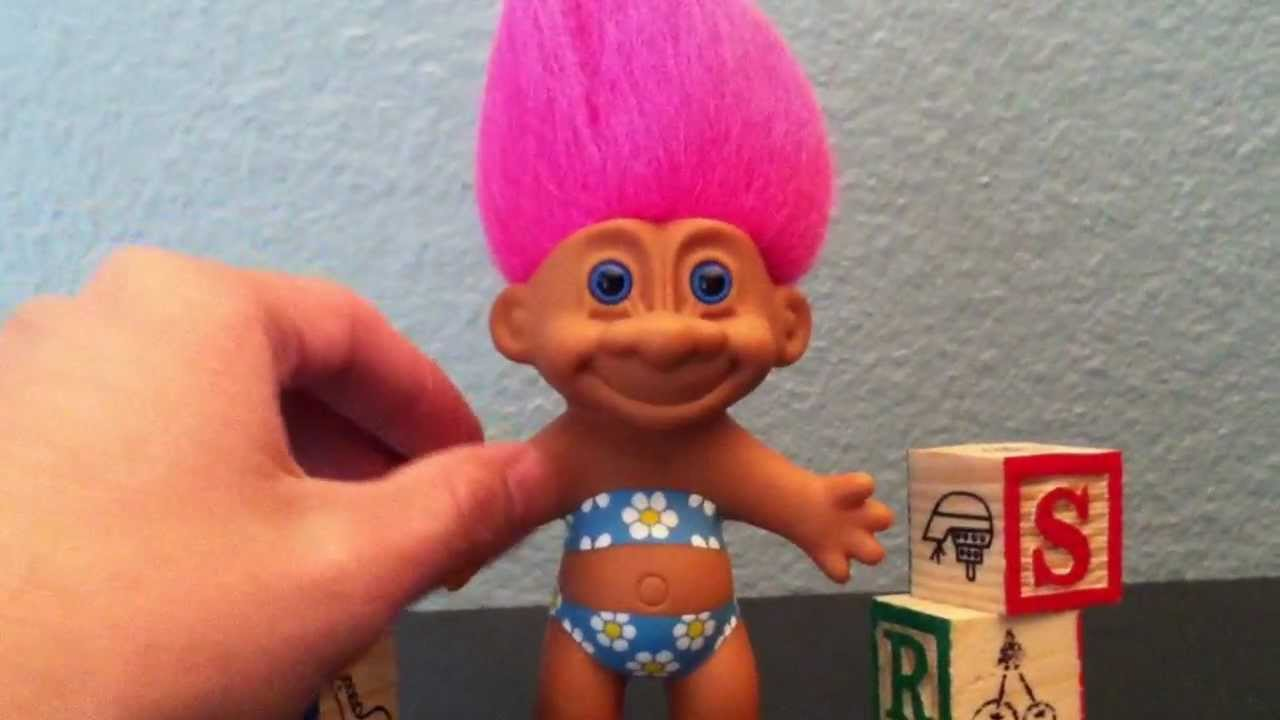 My Toy Story Collection Custom Flower Pattern Blue Pink Hair Troll You