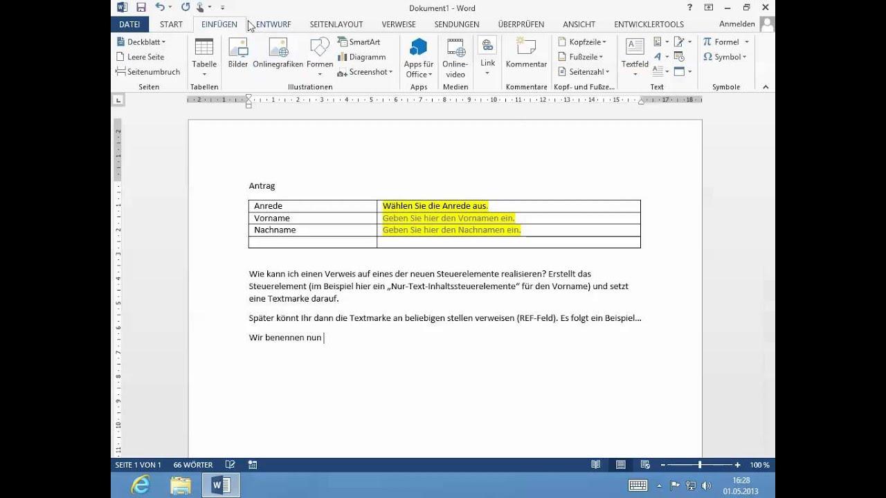 Microsoft Office Word 2013 Verweis Auf Die Neuen Steuerelemente
