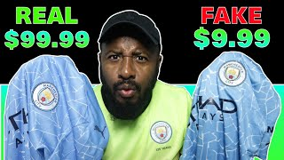$99.99 (Real) vs $9.99 (Fake) Football Jersey!