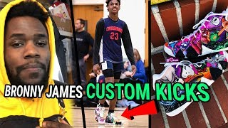 We Made Custom Kicks For BRONNY & BRYCE JAMES! LeBron's Son Gets SPACE JAM KYRIES From Sierato 😱