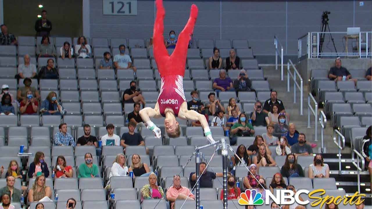 Download Shane Wiskus falls from high bar THREE TIMES yet refuses to quit in courageous routine | NBC Sports
