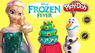 queen elsa frozen fever princess anna playdoh birthday cake snowman olaf parody play doh fun