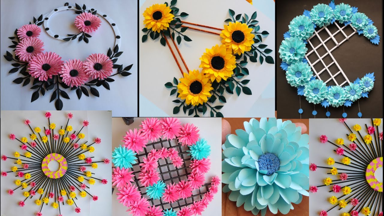 5 Beautiful Paper Flower Wall Hanging - Easy Wall Decoration ideas - Paper Craft - DIY Wall Decor